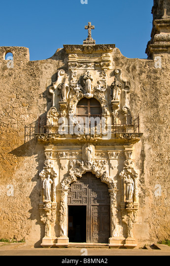 Mission San Jose church entrance doorway wood door San Antonio Texas Tx Missions National Park - Stock Image