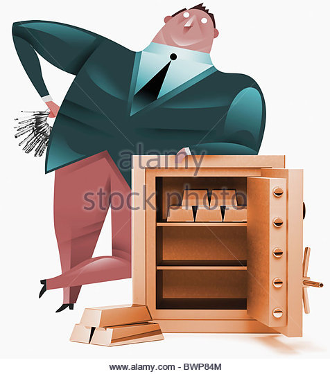 Businessman leaning on open safe - Stock Image