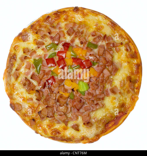 Top view of a hawaiian pizza isolated on white background - Stock Image