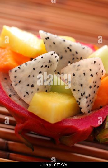 Dragonfruit tropical salad closeup - Stock Image