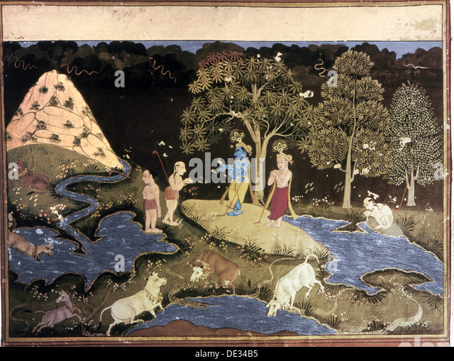 Page from a series of illustrations for Bhagavad Purana. - Stock Image