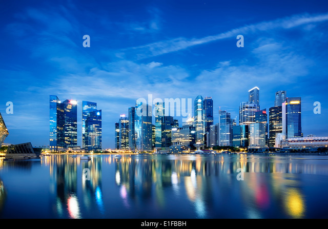 Central business district in Singapore. - Stock Image