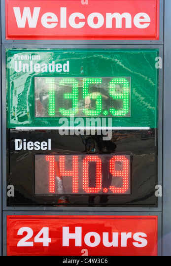 Fuel prices, Aberystwyth, Wales, April 2011 - Stock Image