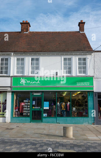 The MIND charity shop in the twon centre at Letchworth Garden City, Hertfordshire UK - Stock Image