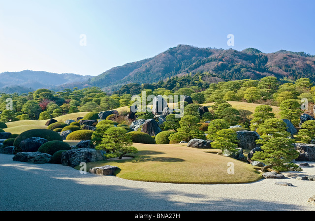 Dry Landscape Japanese Garden Shimane Prefecture - Stock Image