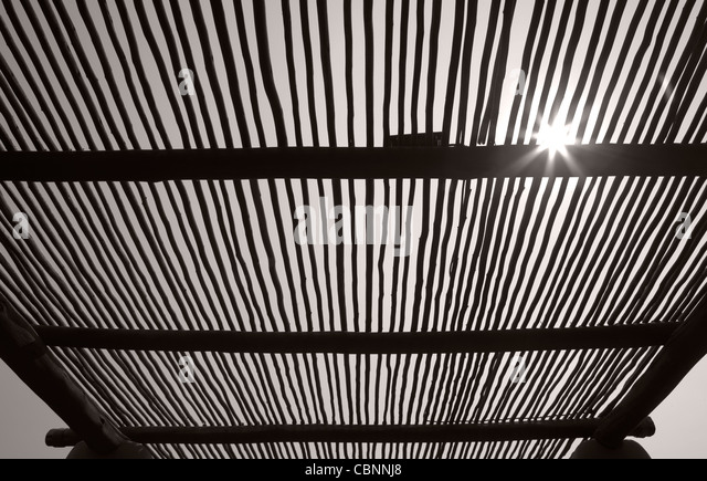 Timber bush roof structure - Stock Image