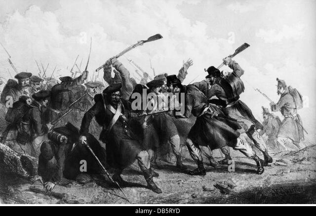 Crimean War 1853-1856, Battle of the Chernaya, 16.8.1855, Sardinian and Russian infantry in the hand- to-hand combat, - Stock Image