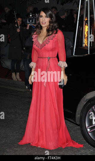 London, UK. Salma Hayek at the British Fashion Awards 2015, London Coliseum, St Martin's Lane, London, England, - Stock Image