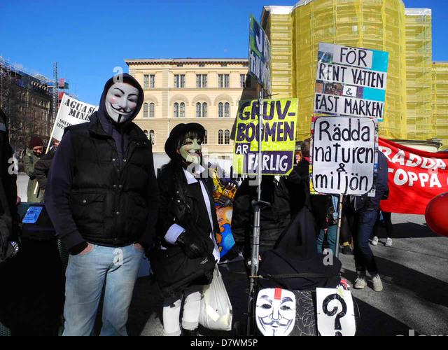Demonstration against mining and destruction of environment 20 April 2013 in Stockholm, Sweden. - Stock-Bilder