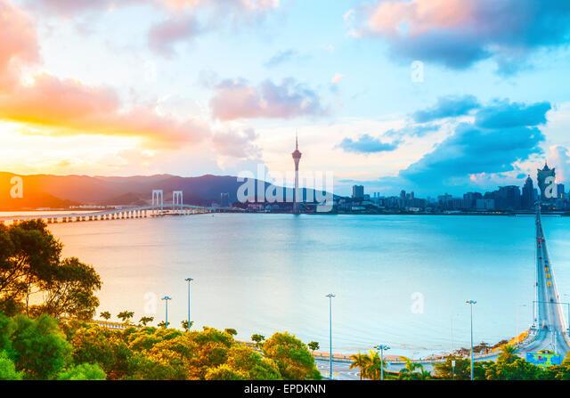 Macau cityscape sunset - Stock Image