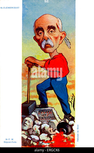 Georges Clemenceau - caricature by Sirat. French statesman. Depicted with bloodied quill behind his ear and destroyed - Stock Image