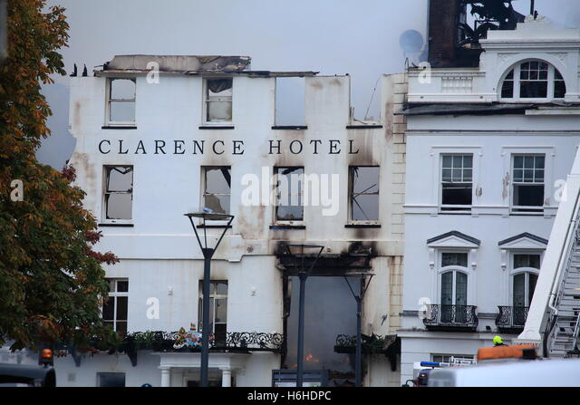 Exeter Royal Clarence hotel, after devasting fire on Fri 28th October 2016, fire still burning on Sat 29th - Stock Image