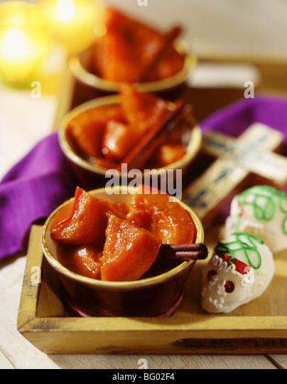 Stewed cinnamon pumpkin in syrup - Stock Image