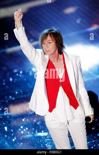 SANREMO, ITALY - FEBRUARY 14: Singer Gianna Nannini performs during the 65th Sanremo Song Festival at the Ariston - Stock Image
