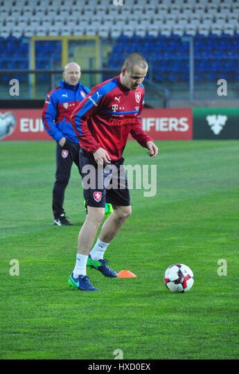Czech national  football team player Adam Hlousek  in action  during the training session in San Marino, March 25, - Stock-Bilder