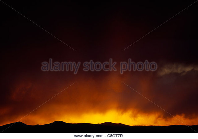 A sunset over the southern Rocky Mountains. - Stock Image