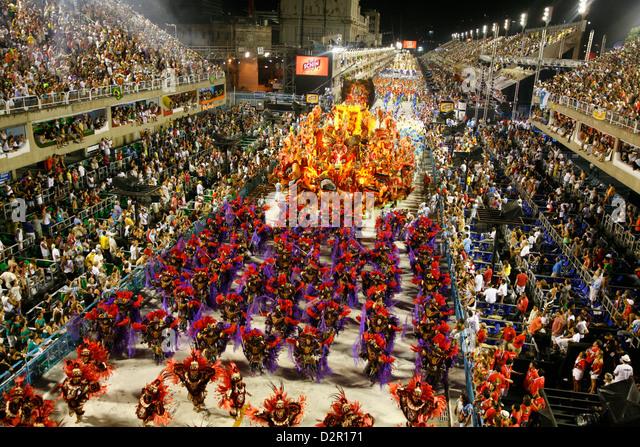 Carnival parade at the Sambodrome, Rio de Janeiro, Brazil, South America - Stock Image