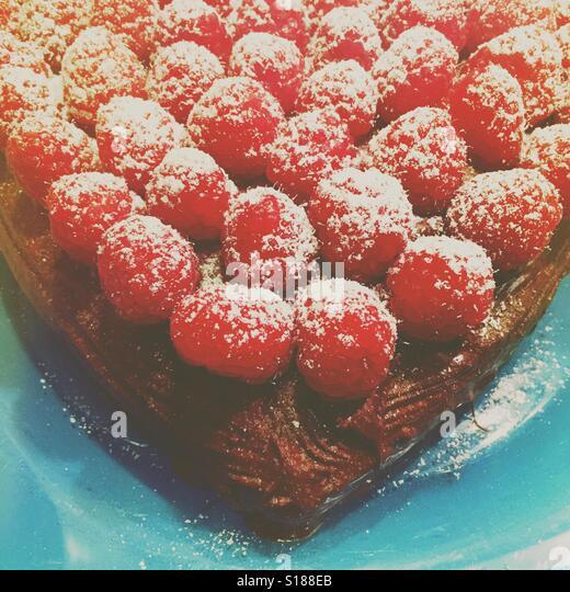 Raspberry chocolate cake - Stock Image