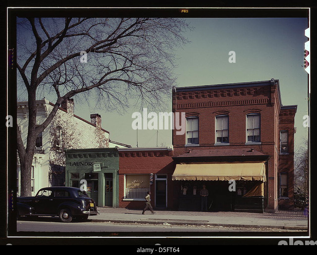 [Laundry, barbershop and store, Washington, D.C.?] (LOC) - Stock Image