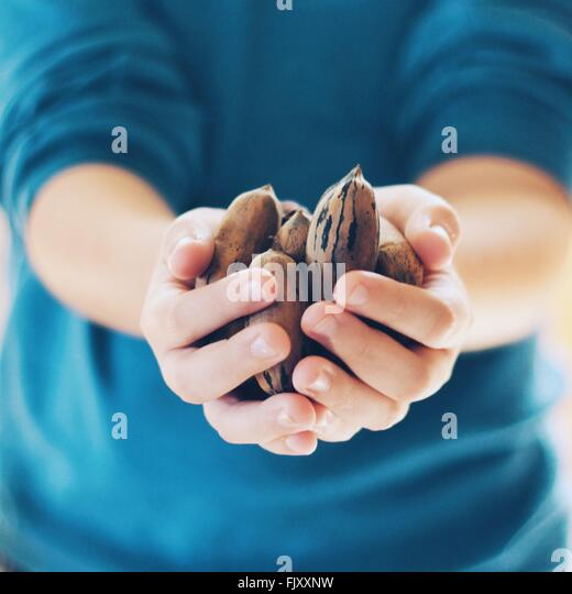 Close-Up Of Person Carrying Nuts - Stock Image