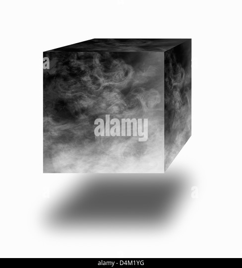 Smoke cube floating in air over white background - Stock Image