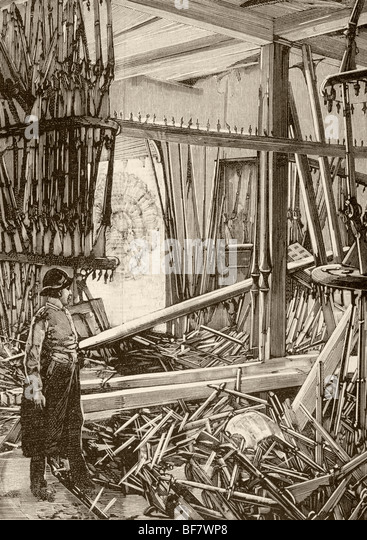 Damage in the Armoury of the Tower of London after Fenian bomb attack in January 1885 - Stock Image