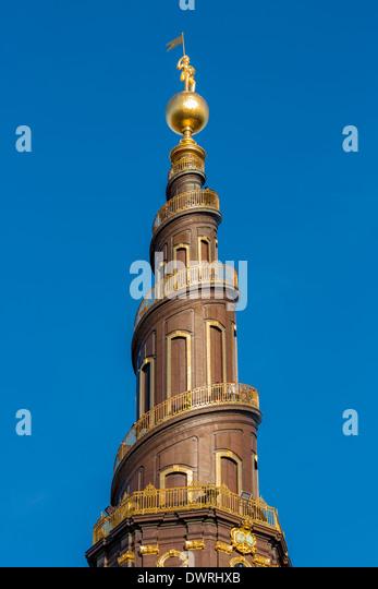 The tower of Church of Our Saviour, Christianshavn, Copenhagen, Denmark - Stock-Bilder