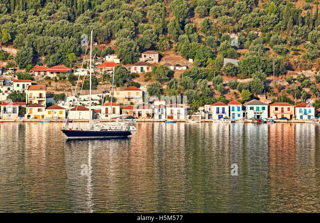 Sailing boats at the port of Vathy in Ithaki island, Greece - Stock Image