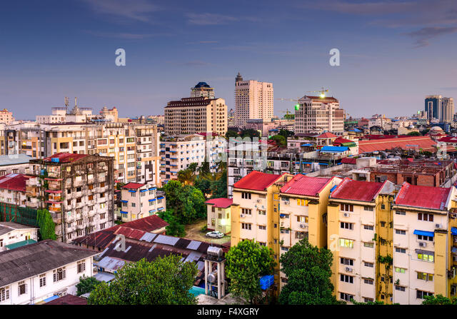 Yangon, Myanmar downtown city skyline. - Stock-Bilder