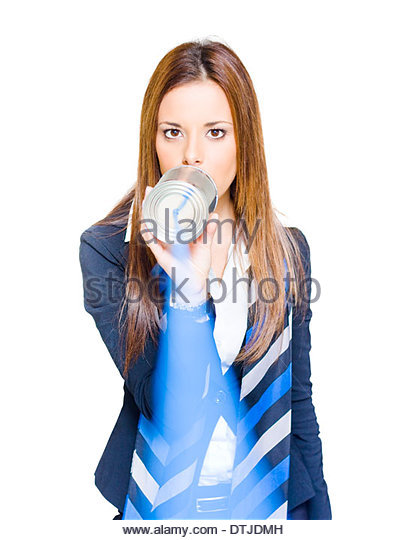 Customer Service And Help Concept Sees A Business Manager Make An Announcement Or Message Of Information When Speaking - Stock Image