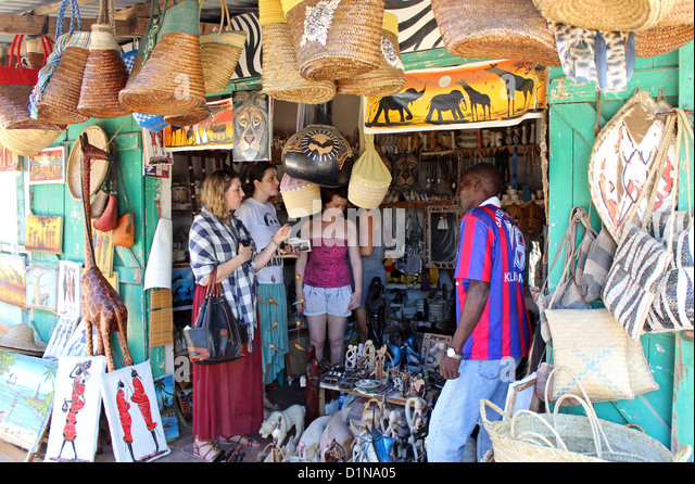 Handmade art and souvenir market, Malindi, Kenya, East Africa - Stock Image