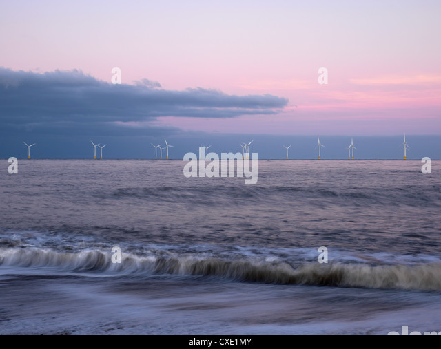 Twilight hues in the sky, view towards Scroby Sands Windfarm, Great Yarmouth, Norfolk, England - Stock Image