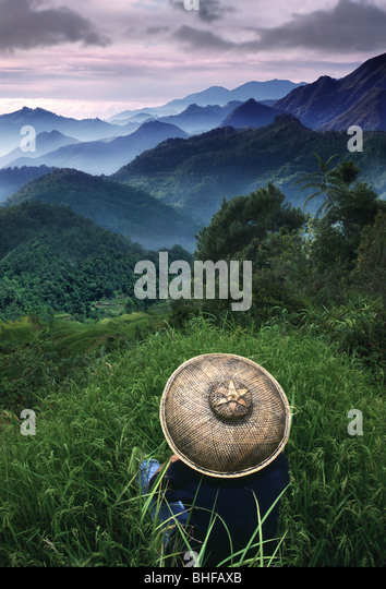Rice farmer overlooking the mountains, Sagada, Cordilleras Mountains, Mountain Province, Insel Luzon. Philippines, - Stock-Bilder