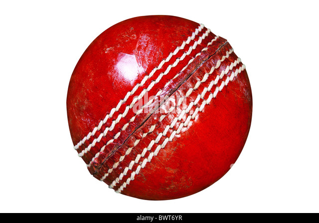 Photo of a red leather cricket ball isolated on white background with clipping path done using pen tool. - Stock Image
