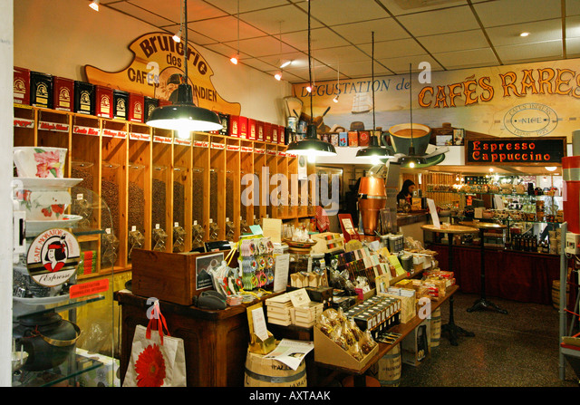 France Nice old city center coffe shop - Stock Image