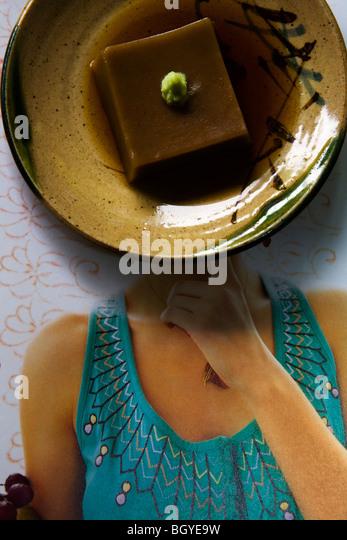 Acorn jelly garnished with wasabi - Stock Image
