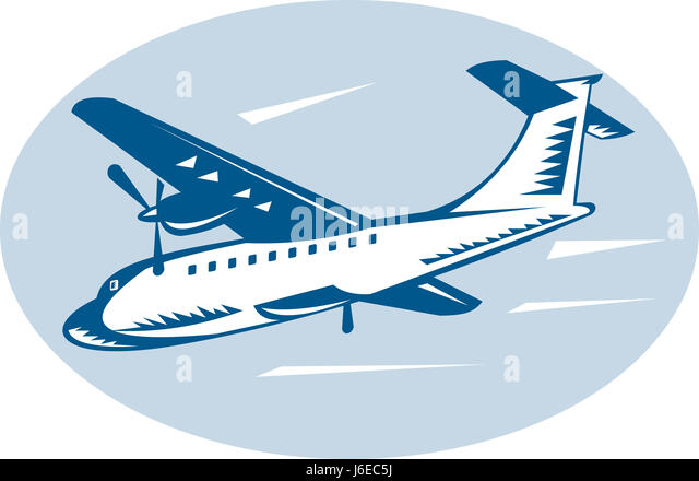propeller wing airliner fuselage landing aircraft aeroplane plane airplane fly - Stock Image
