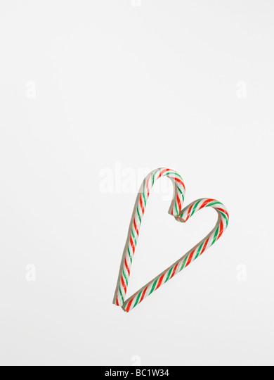 sticks of candy canes heart shaped - Stock-Bilder