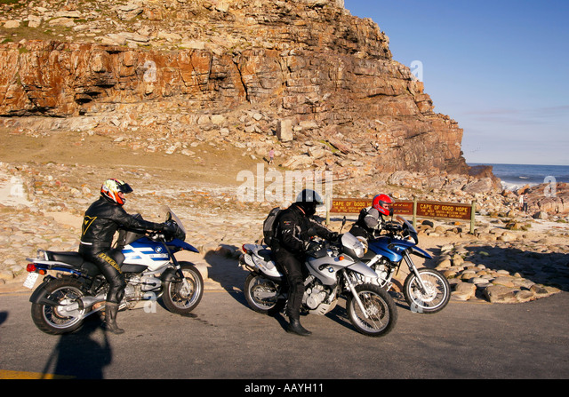 south africa cape of good hope group of motocylclists - Stock Image