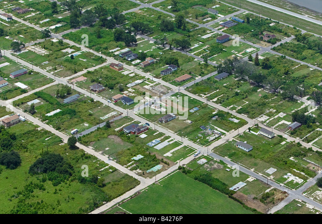 aerial above destroyed homes barren pads New Orleans lower 9th ward - Stock Image