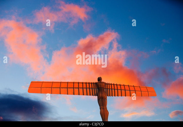 The Angel of the North at sunset, Gateshead, UK. - Stock-Bilder