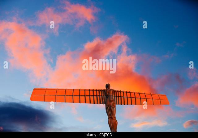 The Angel of the North at sunset, Gateshead, UK. - Stock-Bilder