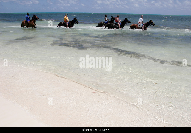Turks and Caicos Grand Turk Atlantic Ocean Indigenous Horse Shelter horseback riding excursion beach - Stock Image