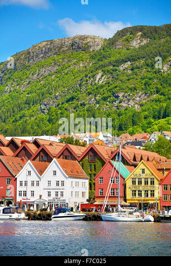 Wooden warehouses, Bryggen, Bergen, Norway - Stock-Bilder