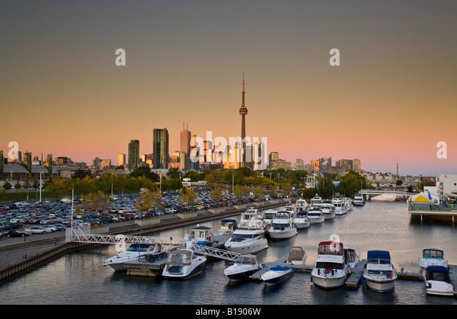 Toronto skyline and Ontario Place at sunset, Toronto, Ontario, Canada. - Stock Image