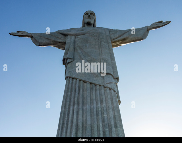 Statue of Christ the Redeemer on Corcovado mountain top in Rio de Janeiro Brazil - Stock Image