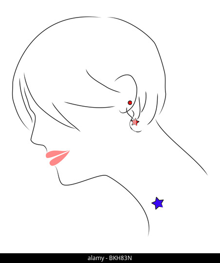An illustration of a beautiful girl with messy hair. She has a star tattoo. - Stock Image