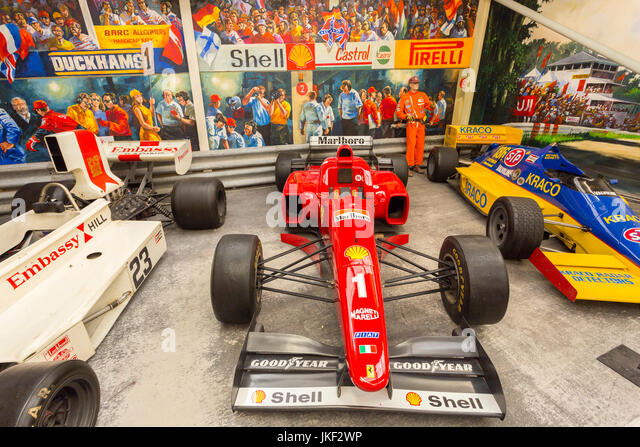 A selection of Formula 1 racing cars in Hall of Motor Sport at the Haynes International Motor Museum, Sparkford, - Stock Image
