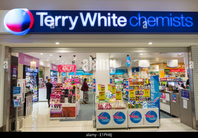 Australia Queensland Brisbane Fortitude Valley Station Terry White Chemists pharmacy drugstore front entrance business - Stock Image