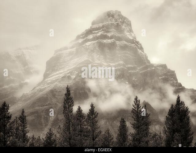Mt. Chephren in fog and rain/snow. Banff National Park, Alberta, Canada - Stock Image